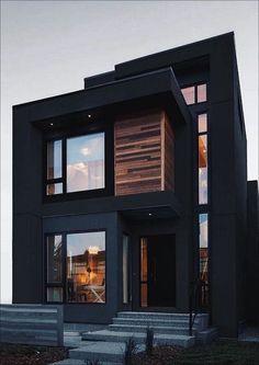 Black House Exterior, Modern Exterior, Exterior Design, Dream House Interior, Luxury Homes Dream Houses, Living Haus, Casas The Sims 4, Dark House, Home Building Design
