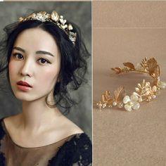 New Design Wedding Gold Leaf Tiara Bridal Pearl Headband Handmade Hair Jewelry Accessories