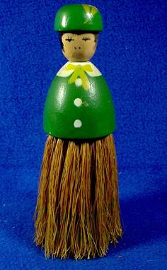 Vintage Green Wood Clothing Brush Doll