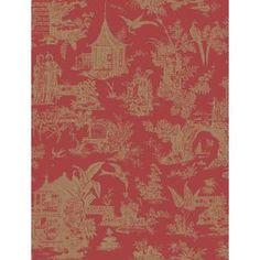 Beacon House 56.4 sq. ft. Zen Garden Red Toile Wallpaper 2669-21766 at The Home Depot - Mobile