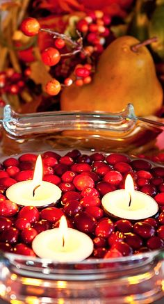 floating cranberries and tea lights....