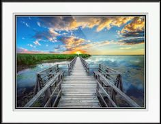 #RicardosCreations #Sunrise #Skyscape #Seascape #Photography #Coastal #Waves #FramedArt #WallArt #GicleePrint #Florida #Tropical #Blue #Yellow #Orange #Skyscape #Boardwalk #Pier #Wetland #Marsh #Photography