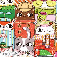 Jive Cats 1,000 pc puzzle, Andrews Blaine/Barnes Noble by Kathy Weller, via Behance