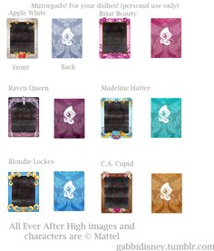Here are the Ever After High Mirrorpads! I was bored asked by a friend to make her some Mirrorpads for her Ever After High Dolls. These wer...