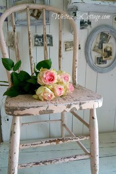 Love this pink chippy chair and the roses :)
