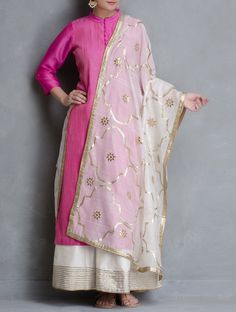 Buy White Gota Patti Jali Cotton Dupatta Dupattas Woven Color Crush Contemporary Kurtas and Palazzos in Maheshwari Online at Jaypore.com