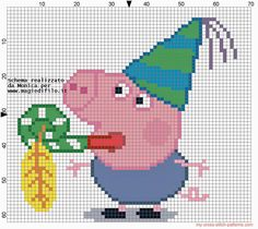 George - Peppa Pig pattern by Monica Cross Stitch For Kids, Cross Stitch Kits, Cross Stitch Charts, Cross Stitch Patterns, Jumper Knitting Pattern, Knitting Charts, Knitting Patterns Free, George Pig Party, Cumple Peppa Pig
