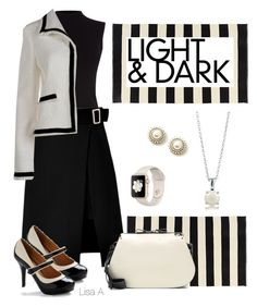 """""""Shades"""" by labond ❤ liked on Polyvore featuring Oasis, storets, Boutique Moschino, Valentino, BERRICLE, black, skirt, Pumps, cream and jacket"""
