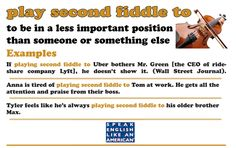 a great idiom for English language learners - play second fiddle to #ESL #BusinessEnglish
