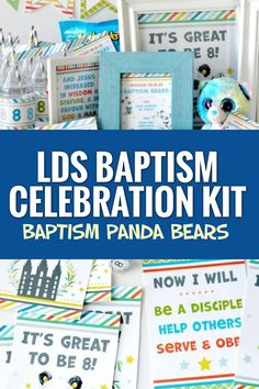 This kit will make your LDS baptism celebration or baptism preview easy and memorable so that you can sit back, relax, and enjoy these special moments. Get yours now! #LDSBaptism #Baptism #Ministering #MinisteringPrintables #LatterDaySaint Cinnamon Bears, Teddy Grahams, Bottle Cap Necklace, Punch Out, Bag Toppers, The Covenant, Panda Bear, Lds, Gifts For Kids