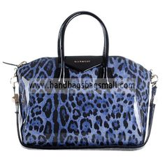 35935fbbf0 Givenchy Blue Antigona Duffel Leopard Patent Leather Tote Bag. RRP    1