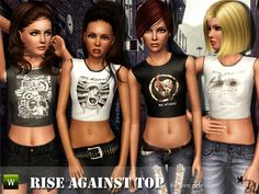 Rise Against Tops by Black Lily - Sims 3 Downloads CC Caboodle