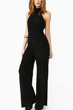 Black Halter Top Backless Sexy Jumpsuit #Black #Jumpsuit #maykool