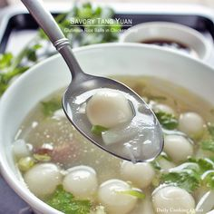 Celebrate winter solstice by making this easy and delicious Cantonese style savory tang yuan (glutinous rice balls) in chicken soup at home. Tang Yuan Recipe, Chicken Porridge, Yummy Asian Food, Asian Soup, Asian Recipes, Ethnic Recipes, Rice Balls, Chicken Soup Recipes, Chicken Rice