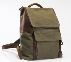 Army green Leather-canvas backpack /Leather bag/Canvas bag /Shopping bag/ Stitch bag/Shoulder bag/iPad bag/Schoolbag/ Satchel. $69.00, via Etsy.