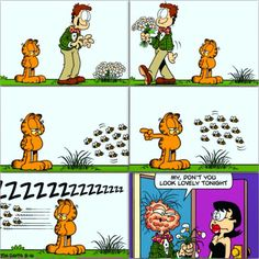 Don't mess with the bees #LOL #ROFL #Garfield #lovable #lazy #snitch #orange #kitty #cat #Jon #dork #flowers #gesture #bees #anger #ZZzzz #Liz #girlfriend #shock #welts #swollen #unrecognizable  #hilarious #Sunday #funny #comic #JimDavis #thankyou #follow #Garflife