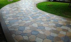 Stamped concrete driveway house exterior design ideas concrete stamps