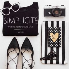 flat lay in black and white