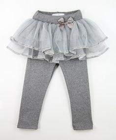 Gray Lace Skirted Leggings - Toddler & Girls #zulily *love