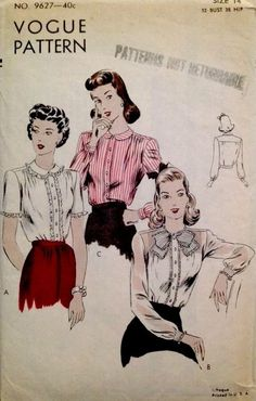 Vogue 9627 (1943) vintage fashion style color illustration print ad pattern 40s blouse round collar button front white pink skirt hair