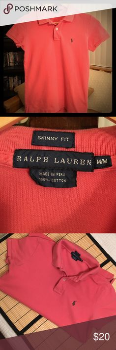 Ralph Lauren PoloMediumSkinny FitSalmon/Pink Great Condition Ralph Lauren Polo Shirt  Salmon/Pink with Taupe Polo Logo  Skinny Fit Medium (Will Fit Snug/More Like a Small)  Additional Colors Available  See Closet Listings for More!! Ralph Lauren Tops Tees - Short Sleeve