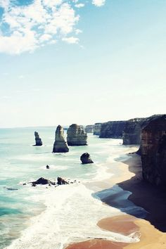 The Twelve Apostles, a collection of limestone stacks | Port Campbell National Park, by the Great Ocean Road in Victoria, Australia.