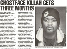 Ghostface Killah Gets Three Months - 1998 Ghostface Killah, Gangster Rap, Rap Albums, Wu Tang Clan, Hip Hop Outfits, Music Images, Hip Hip, Hip Hop Rap, Hip Hop Fashion