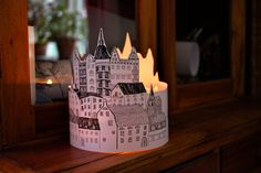 """EXTRA LARGE Paper lantern """"Stockholm"""" SILHOUETTE Originally Hand Drawn Hand - just add candles"""