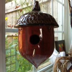 Wheel thrown acorn bird house, locally made by HA pottery