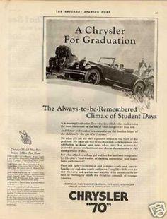 "Chrysler ""70"" Car Ad ""A Chrysler for Graduation... (1926)"