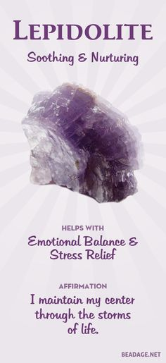 Lepidolite Meaning & Healing Properties Lepidolite helps with stress and worry when life feels turbulent and overwhelming. It can help you stay focused on the present, relieving worry about the future and letting go of stuck patterns from the past.
