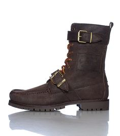 POLO Men's high top boot Lace closure with buckle closure Distressed, oiled suede material throughout Reinforced sole for performance Cushioned inner sole