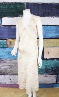 The Limited Cream Swirl Print 100% Silk Empire Waist Midi A-Line Dress 10 Career