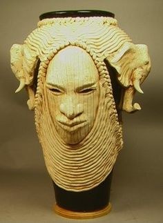 306: Tall WOODROW NASH Elephant Head Vase. Carved and : Lot 306