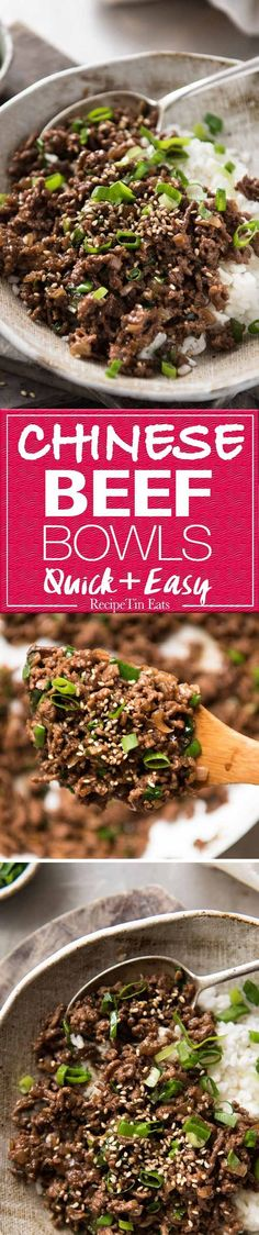 These Asian Beef Bowls are a terrific quick meal. A simple sauce with deep savoury flavours made with pantry staples, takes less than 15 minutes to make! http://www.recipetineats.com