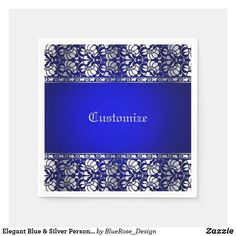 Elegant Blue & Silver Personalized Napkins Holiday Cards, Christmas Cards, Personalized Napkins, Ecru Color, Cocktail Napkins, Paper Napkins, Christmas Card Holders, Hand Sanitizer, Blue And Silver