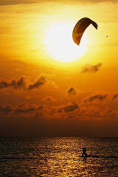 """Kiteboarding Into the Sunset"" by Zach Dischner:) ........... I love watching them! Esp in Hawaii!"