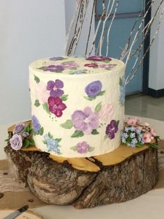 Textured buttercream cake with painted buttercream florals and gumpaste accent flowers on each side of the cake. Pretty Cakes, Beautiful Cakes, Amazing Cakes, Buttercream Wedding Cake, Buttercream Flowers, Cupcakes, Cupcake Cakes, Halloween Desserts, Cake Decorating Frosting