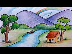 How To Draw Simple Scenery Drawing For Beginners Village How To Draw Easy Scenery For Kids Drawing Sunset Scenery Step House Drawing For Kids, Scenery Drawing For Kids, Drawing Lessons For Kids, Easy Drawings For Beginners, Easy Drawings For Kids, Cute Drawings, Drawing Sketches, Drawing Drawing, Drawing Tricks