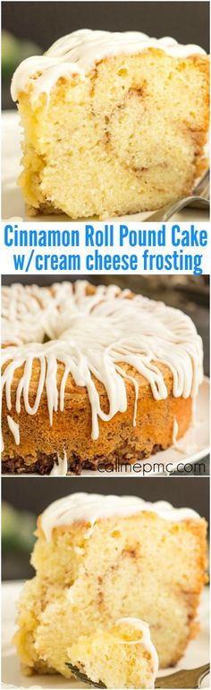 Homemade Sour Cream Cinnamon roll pound cake recipe with cream cheese frosting