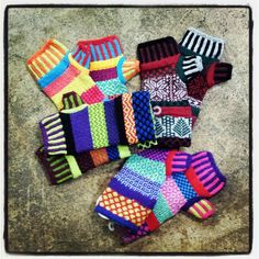 Fingerless gloves & cozy mittens made from recycled cotton in glorious mismatched colors @ Green in BKLYN for the holidays