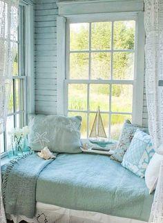 What a cozy nook! House of Turquoise: Aiken House and Gardens Beach Cottage Style, Beach Cottage Decor, Coastal Cottage, Coastal Living, Coastal Style, Coastal Decor, Beach Cottage Bedrooms, Bedroom Beach, Coastal Bedrooms
