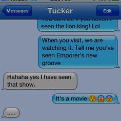 My sister has never seen the lion king or the emperors  new groove wtf?!