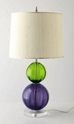 Purple and green glass lamp