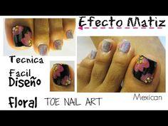 Efecto matiz y flores uñas decoradas de los pies/Cute floral toe nail art - YouTube