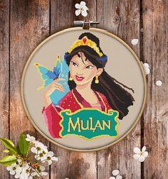 Modern Cross Stitch Pattern of Mulan $3.95 Pdf Patterns, Embroidery Patterns, Cross Stitching, Cross Stitch Embroidery, Disney Crafts, Disney Fun, Walt Disney, Mulan 3, Princesa Disney