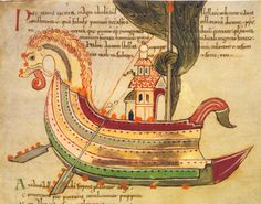 Constellation Argo Navis, Aratea, England 11th century, BL, Cotton Tiberius B. V, Pt 1, fol. 40v