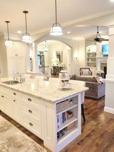 White Kitchen Off Cabinets Sherwin Williams Conservative Gray New Venetian Gold Granite Open Layout Floor Plan Concept Hickory Wood