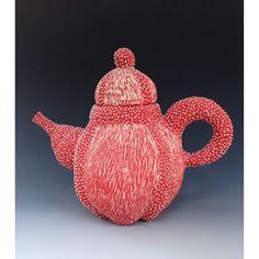 """Happy Red Teapot"" Porcelain Sculpture by Eileen Braun Ceramics"