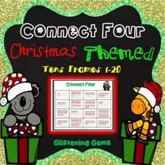 Math Games - Math Games: Connect 4 Christmas Themed packet is a fun way for students to revise concepts in numbers up to 20. The math games includes: 6 game boards with Christmas tens frames, set of candy cane numbers from one to twenty, teacher instructions, preparation and variations to the game.